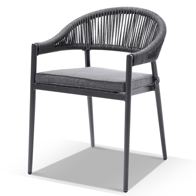 Alpine Outdoor Aluminium & Ceramic Table with 6 Finley Rope Stackable Chairs