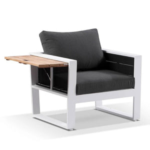 Corfu 1 Seater Outdoor Aluminium and Teak Timber Lounge with Sunbrella®