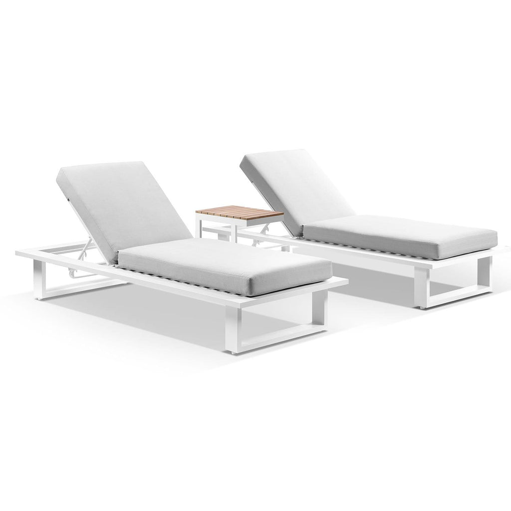 Arcadia Aluminium Sun Lounge Set in White with Balmoral Teak Slide Under Side Table