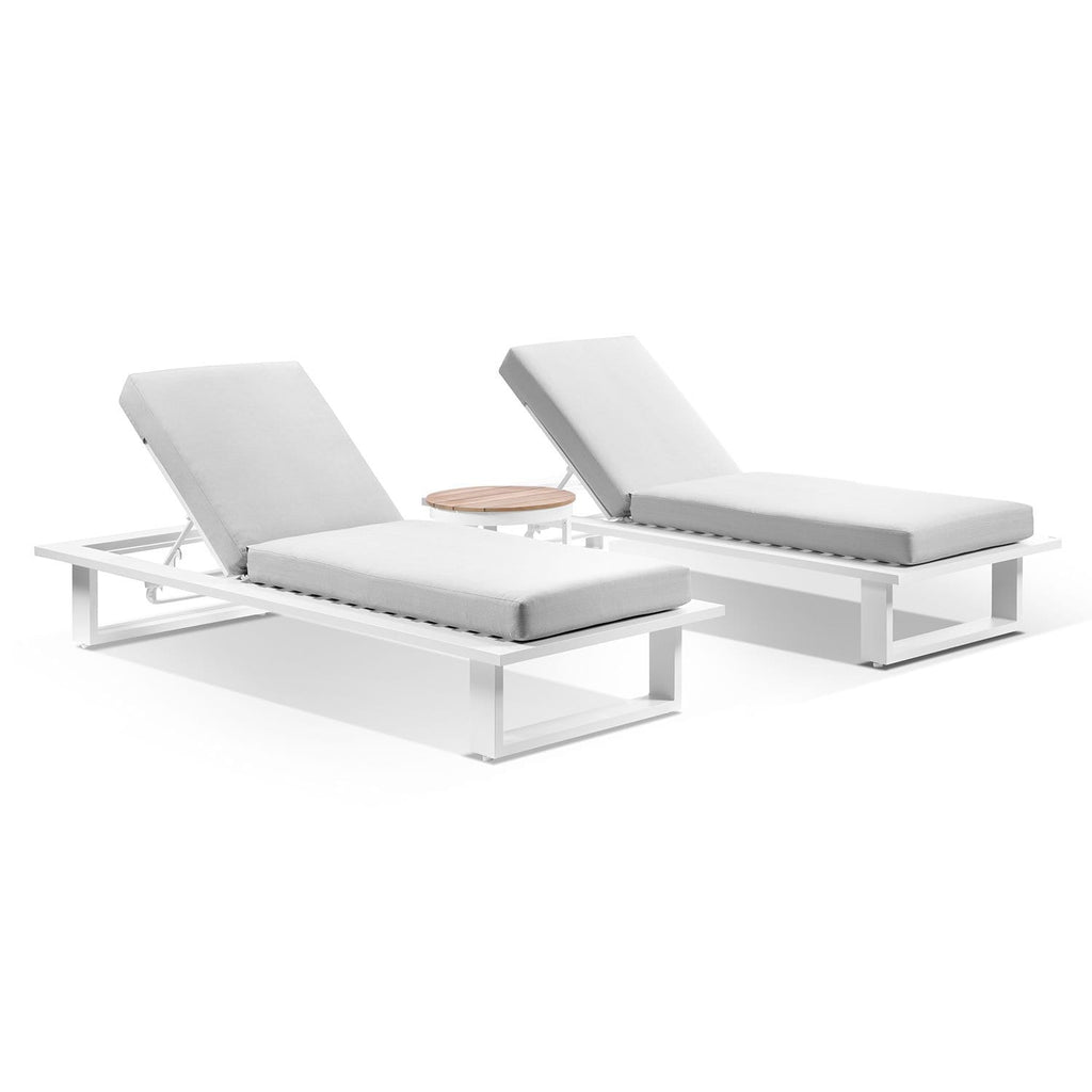 Arcadia Aluminium Sun Lounge Set in White with Balmoral Teak Round Side Table
