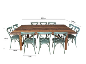 2.5m INDUSTRIAL TABLE with 10 CROSS-BACK CHAIRS