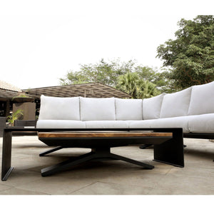 Venice Aluminium Corner Lounge with Built in Timber Side tables