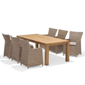 Cancun 2.2m Teak Timber Table and 8 Cora Wicker Chairs Dining Setting