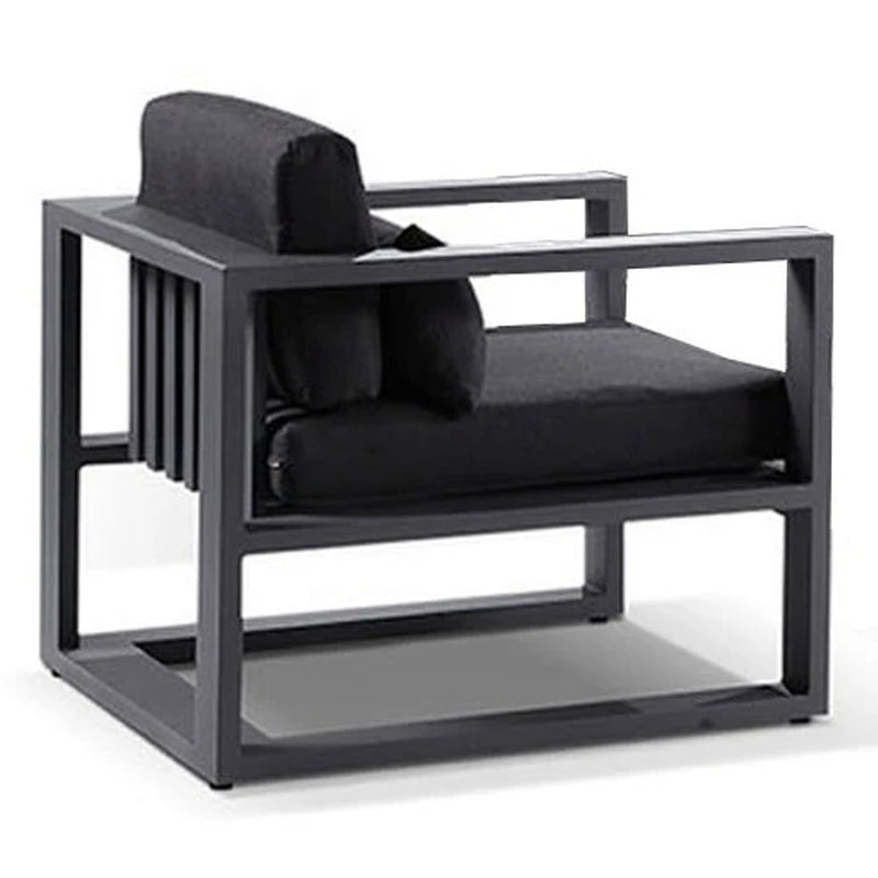 Santorini 3+2+1 with Coffee Table in Charcoal with Denim Grey cushions