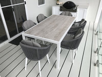 Alpine Outdoor 6 Seater Rope and Aluminium Dining Table and Chairs Setting