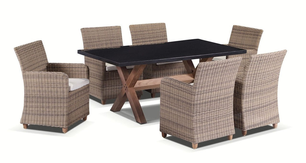 Blue Stone 6 - 7pc Granite Stone Top Outdoor Dining Set With Rattan Wicker Chairs