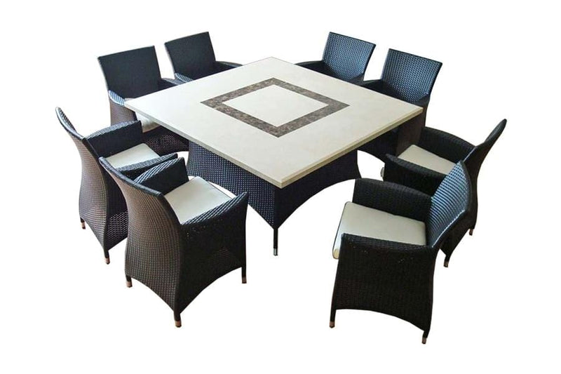 Caesar 8 Square - 9pc Travertine Stone Outdoor Table Setting With Wicker Outdoor Chairs