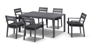 Capri 7cs Dining Setting in Charcoal