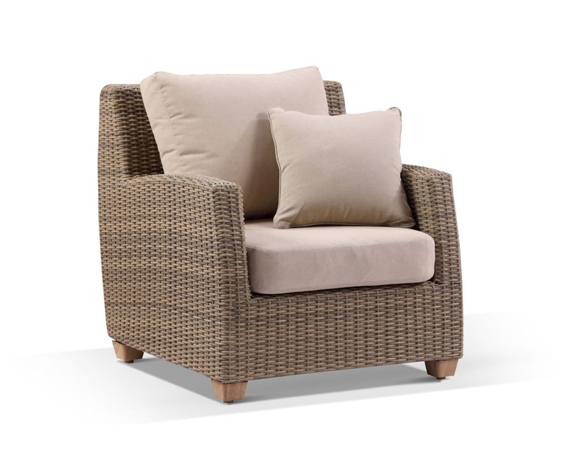 Grange 1 Seater Outdoor Wicker and Teak Lounge Arm Chair