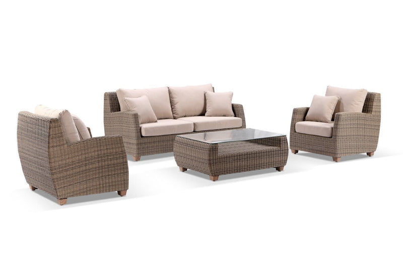 Grange 3+1+1 Outdoor Wicker Lounge Setting with Coffee Table