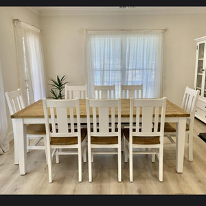 Leura Belle Rustic 8 Seater Rectangle Dining Table and Chairs Setting