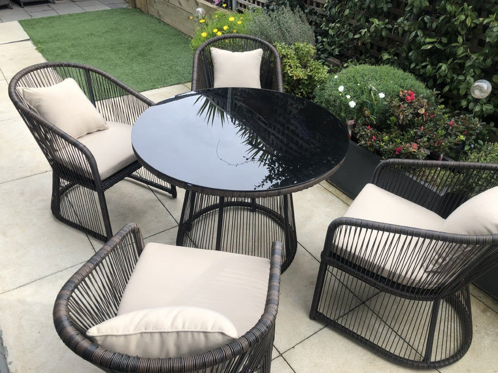 Luna Outdoor Wicker 5 Piece Round Dining Set