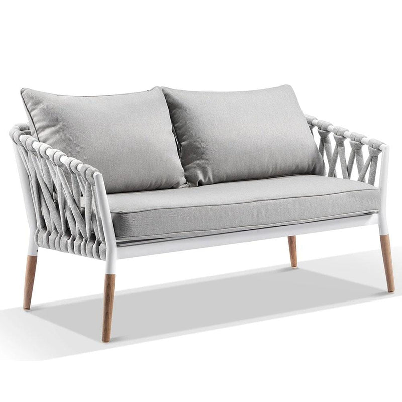 Silas Outdoor Ivory Rope 2 Seater Chair
