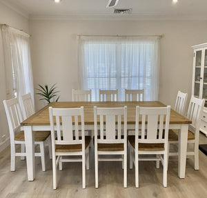 Leura Belle Large Rustic 10 Seater Dining Table and Chairs Setting