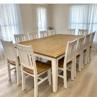 Leura Belle Large Rustic 12 Seater Dining Table and Chairs Setting
