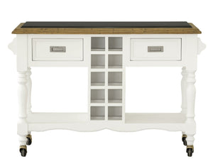 Leura Belle Kitchen Island Bench in Brushed White with Natural Timber Top