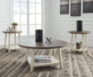 Mia Indoor 3 Piece Round Coffee Table and Side Tables Set