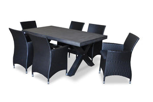 New York 1.8m Outdoor Poly Cement Table with 6 Wicker Chairs - DARK GREY