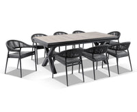 Portland Ceramic Top Extension Outdoor Table with 8 x Finley Rope Dining Chairs