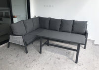 Seattle Outdoor Aluminium and Rope Lounge Setting with Coffee Table