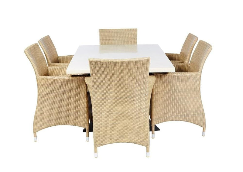 Sicillian 6  - 7 Pc Travertine Stone Top Outdoor Table Setting With Wicker Chairs