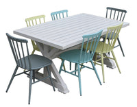 Torquay 1.6m Aluminium Outdoor Table with 6 Windsor Stackable Dining Chairs
