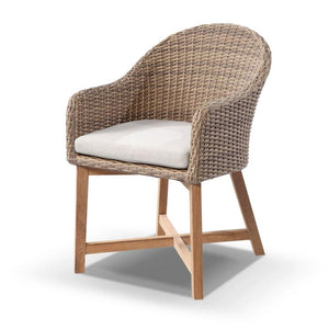 Sahara 8 Square with Coastal Chairs in Half Round wicker