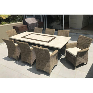 Caesar 8 Rectangle - 9pc Travertine Stone Outdoor Table In Half Round Rattan Wicker