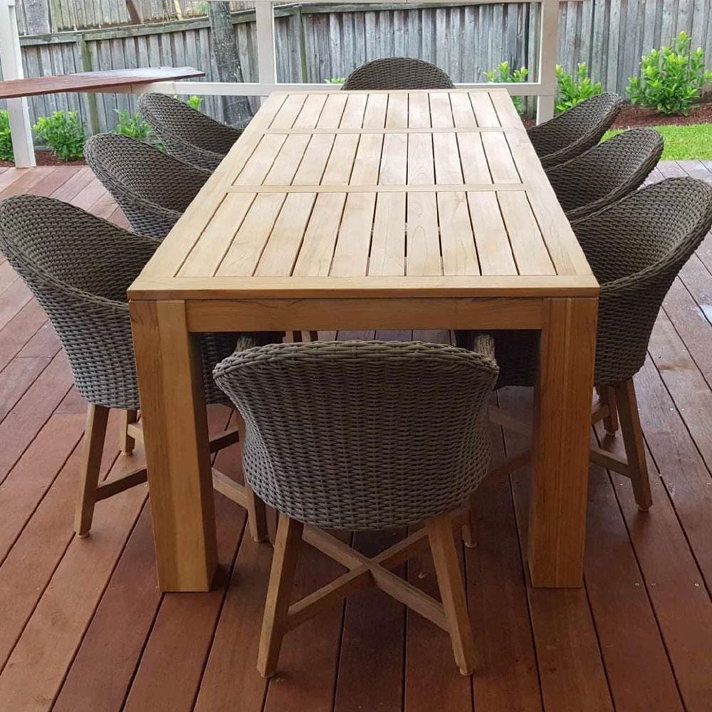 Entertainer2.5m Teak Outdoor Table w/ 8 Coastal Wicker Dining Chairs