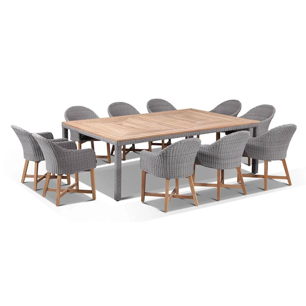 Sahara 10 Seat with Coastal Chairs in Half Round wicker