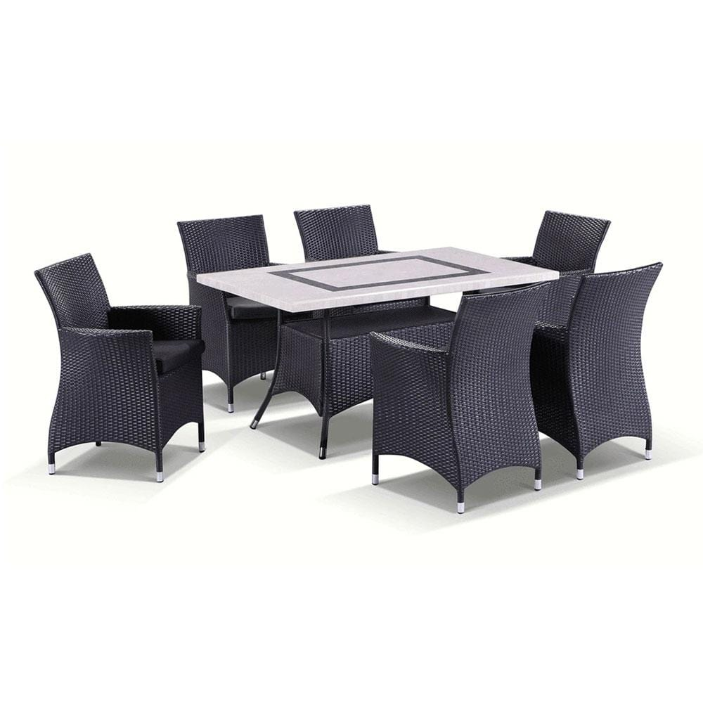 Caesar 6 - 7pc Travertine Stone Outdoor Table Setting With Wicker Outdoor Chairs