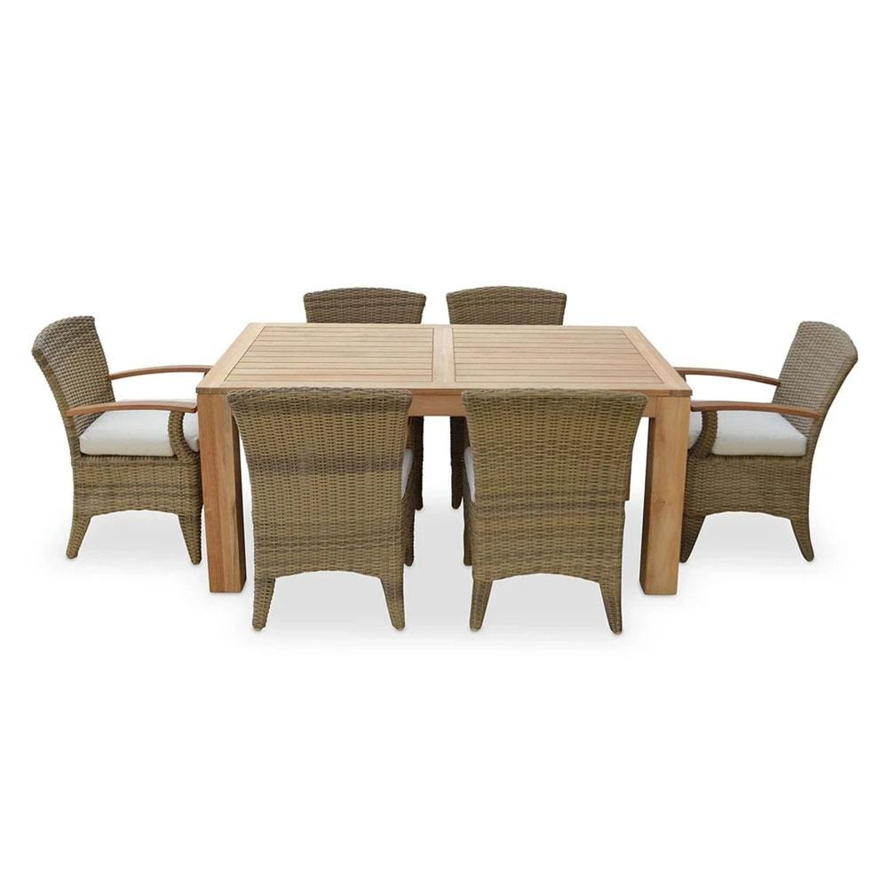 Entertainer 1.7m Teak Outdoor Table with 6 Kai Wicker Dining Chairs