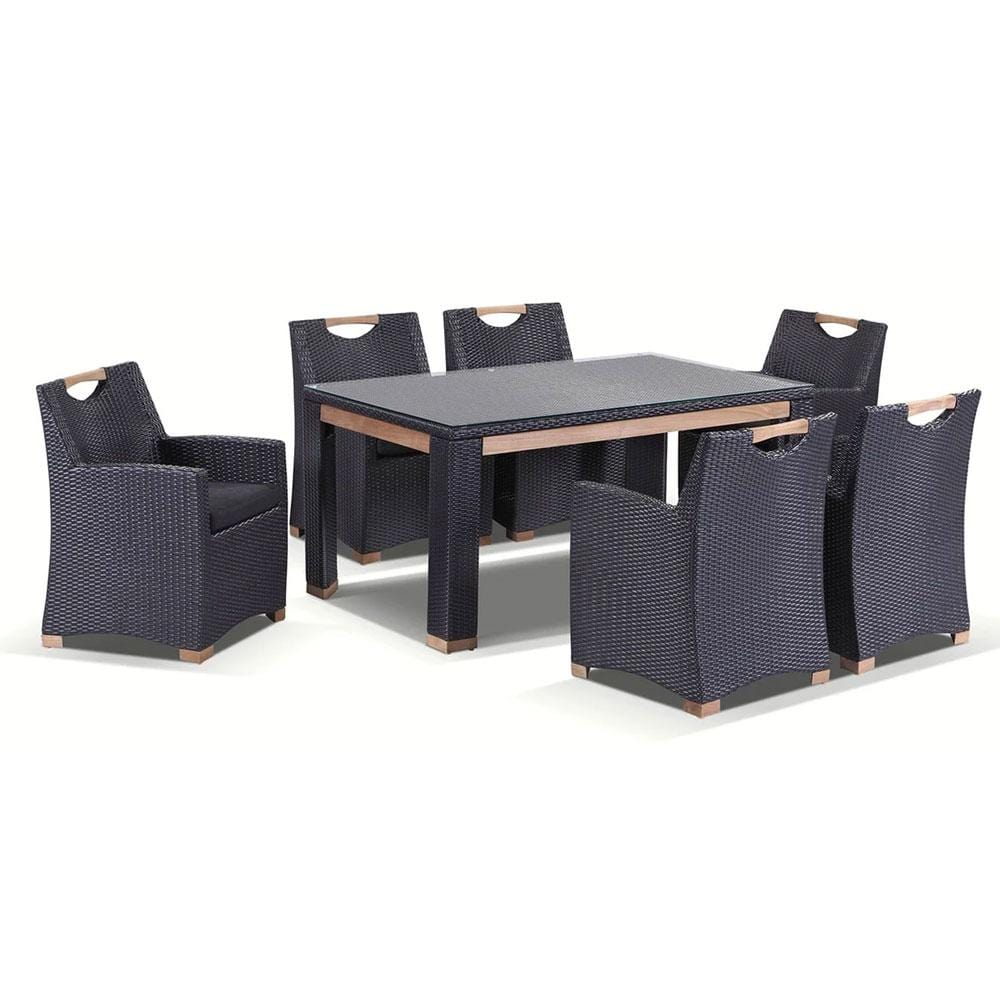 Freedom 6 - 7pc Glass Top And Teak Trim Outdoor Dining Set With Wicker Chairs