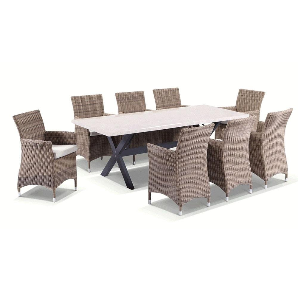 Sicillian 8 Rectangle - 9 Pc Travertine Stone Top Outdoor Table Setting With Half Round Wicker Chairs