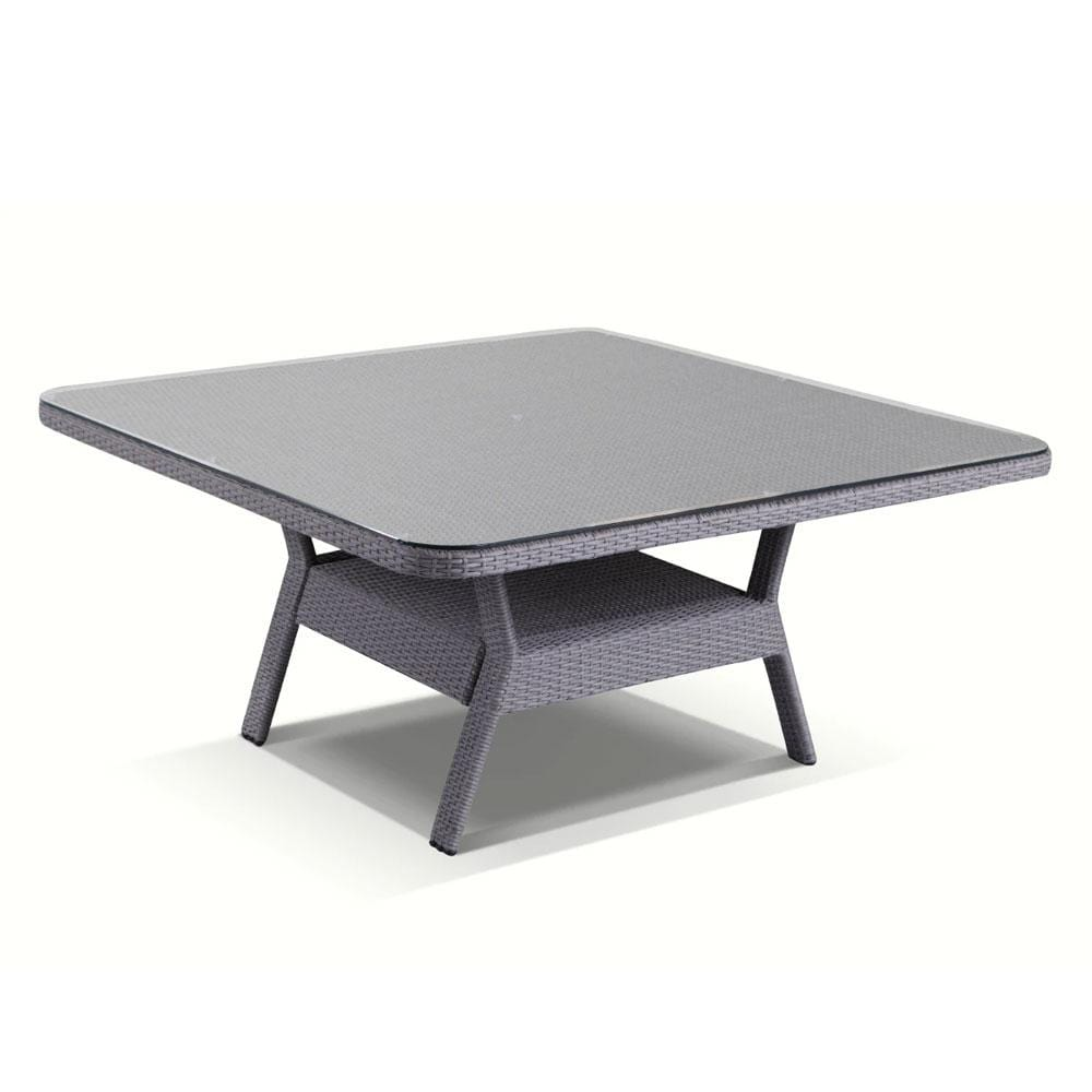 Low Dining Table 1 5m Square Glass Top In Textured Grey Wicker