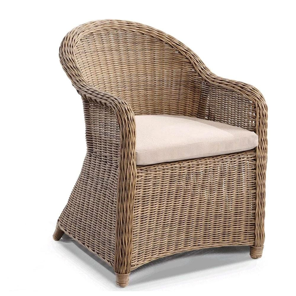 Plantation Full Round Wicker Dining Chair in Brushed Wheat