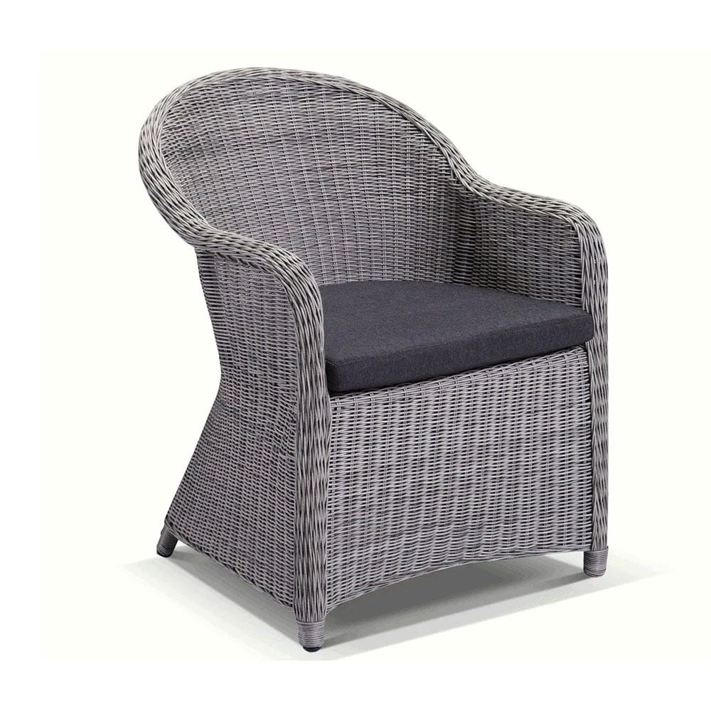 Plantation Full Round Wicker Dining Chair in Brushed Grey