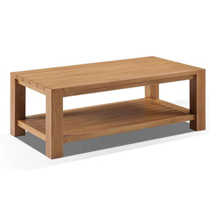 Rectangle Aluminium Coffee Table in Teak Timber Look Finish