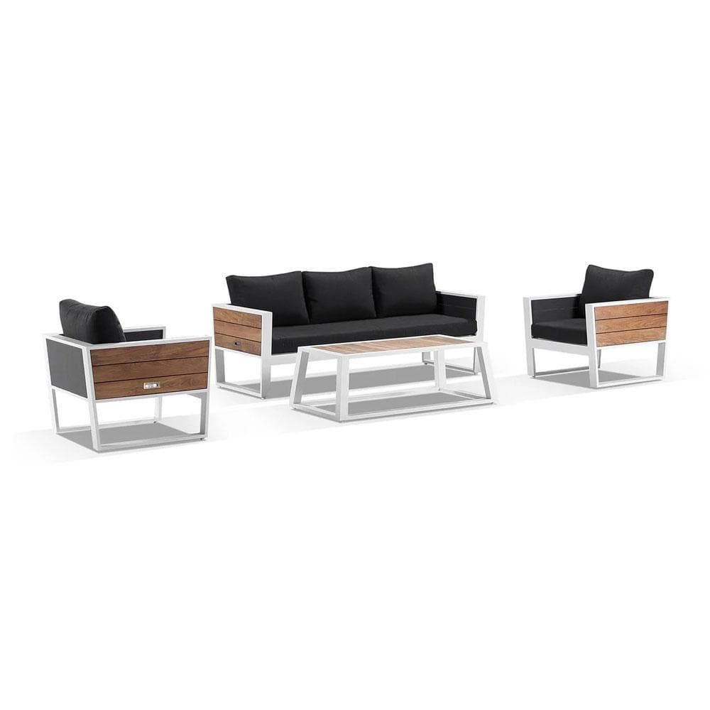 Corfu 3+1+1 Aluminium and Teak Timber Lounge with Coffee Table & Side Table