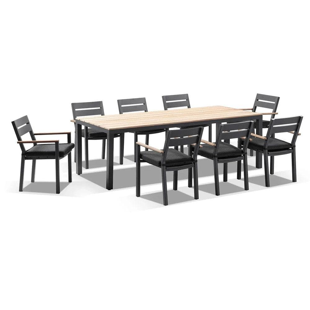 Tuscany 8 With Capri Chairs with Teak Arm Rests  in Charcoal