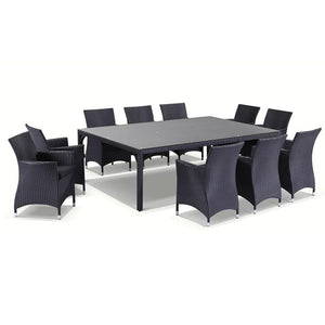 Roman 10 Seat - 11pc Outdoor Dining Set in Turkish Coffee Wicker