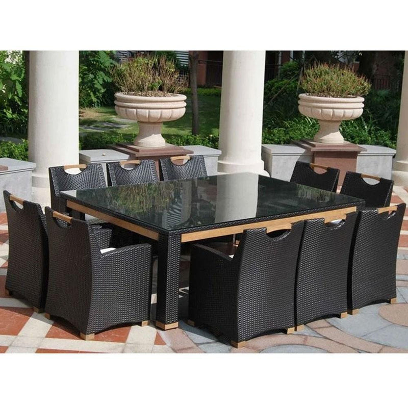 Freedom 10 Seat - 11pc Glass Top And Teak Trim Outdoor Dining Set With Wicker Chairs
