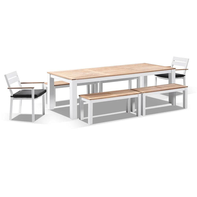 Balmoral 2.5m Teak Top Aluminium Table with 4 Bench Seats and 2 Chairs