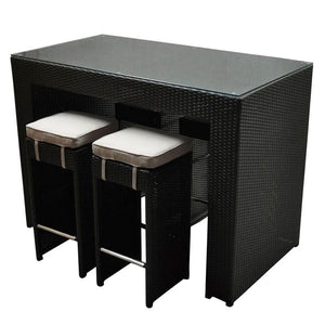 Marley Bar 4 - 5pc Glass Top Wicker Outdoor Bar Furniture
