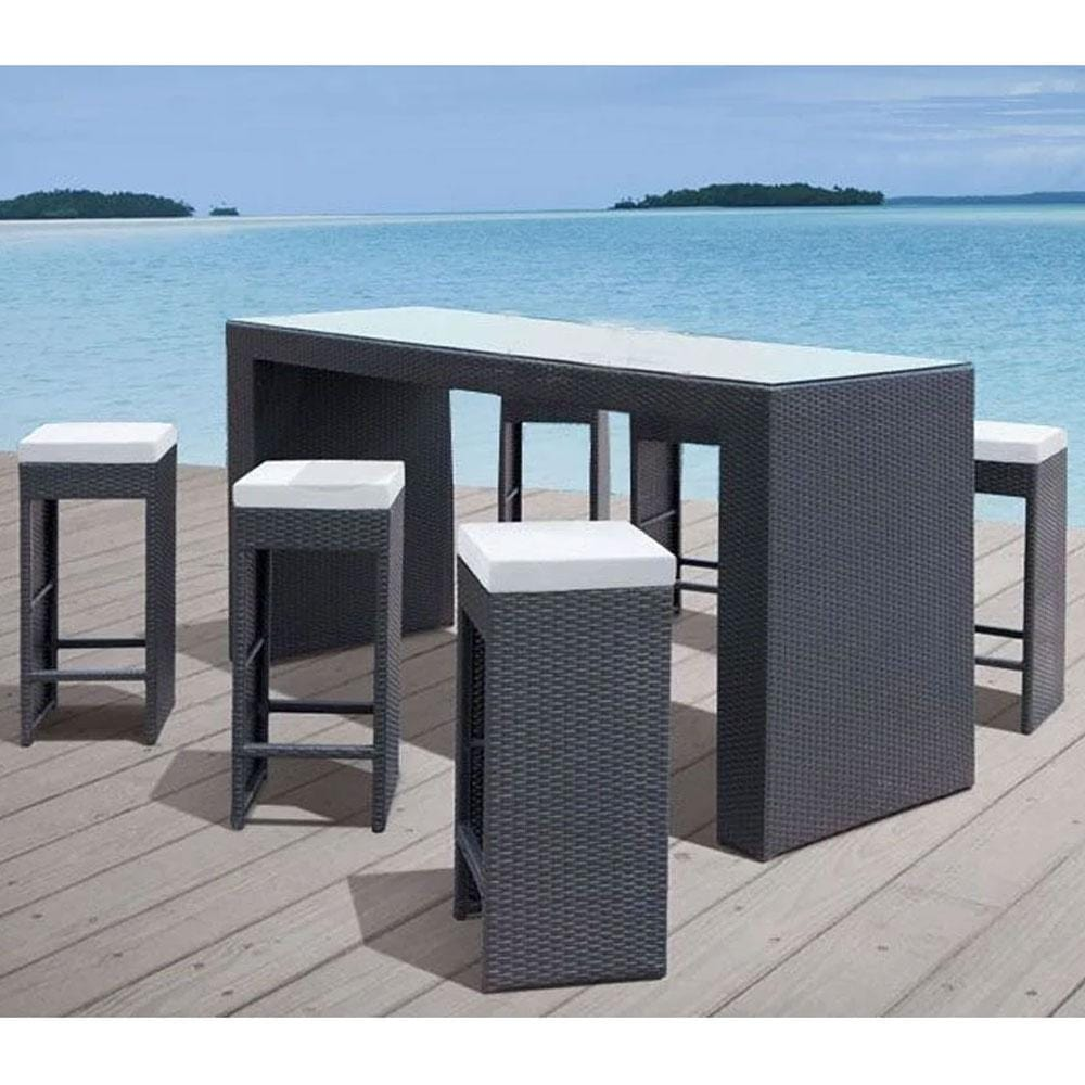 Marley Bar 6 - 7pc Glass Top Wicker Outdoor Bar Furniture