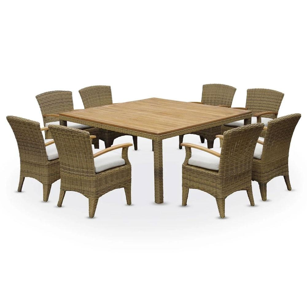 Kai 8 Square - Half Round Outdoor Rattan Wicker - Raw Natural Teak Table Top