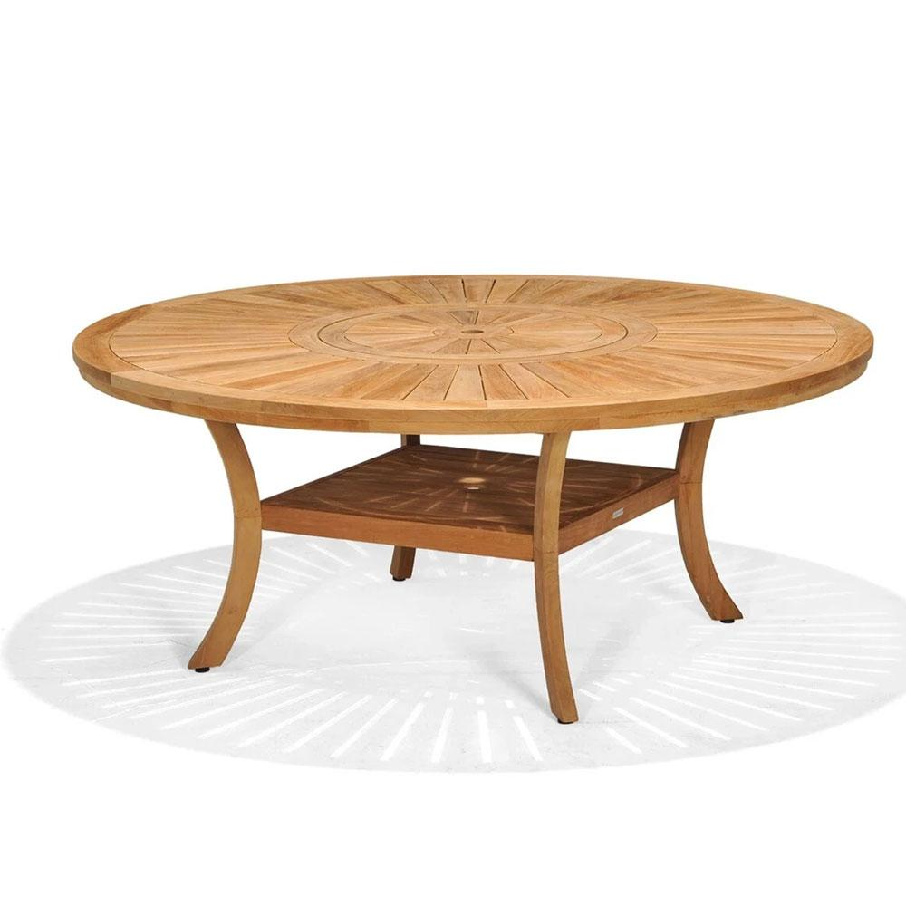 Solomon 1 8m Round Teak Timber Outdoor Dining Table With Lazy Susan