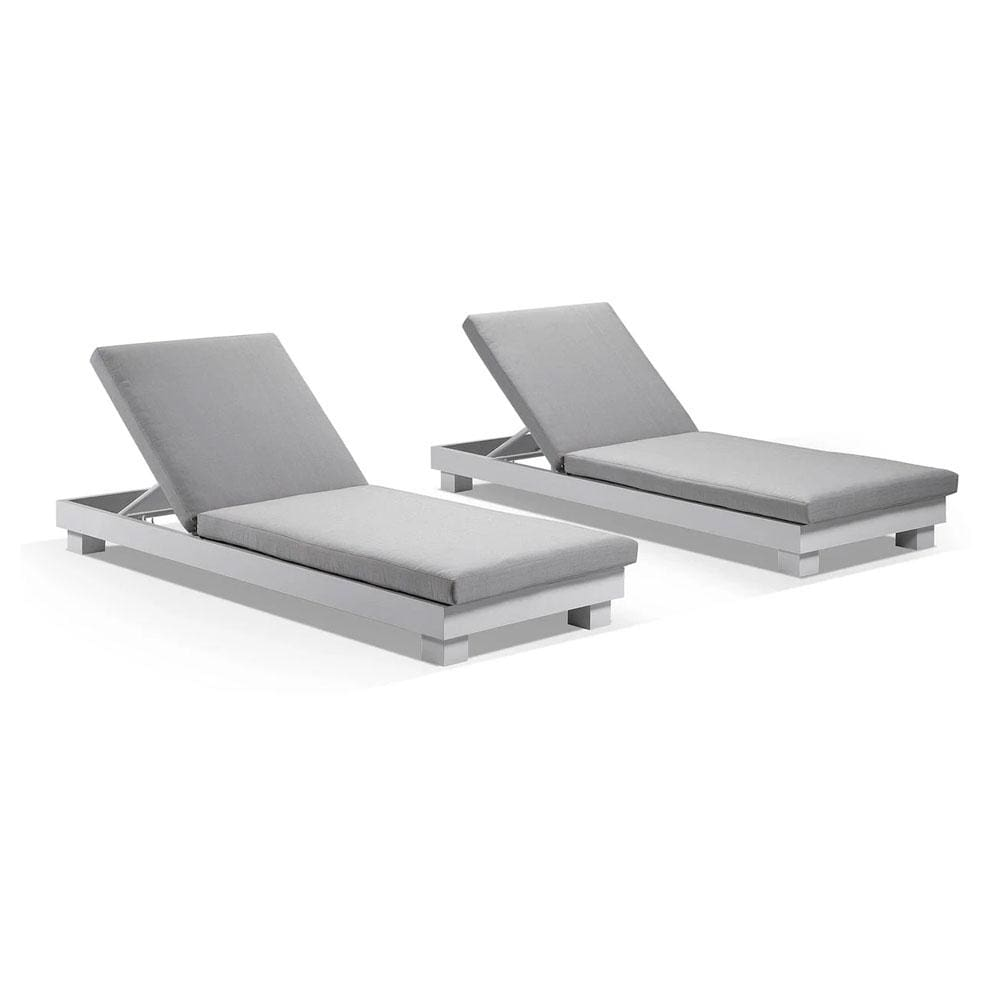 Santorini Aluminium Sun Lounge Set in White