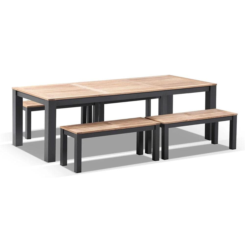 Balmoral 2.5m Teak Top Aluminium Table with Bench Seats