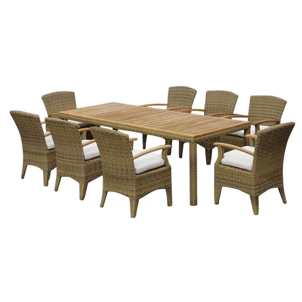 Kai 8 Raw Natural Teak Outdoor Table with Half Round Wicker 9pc Set